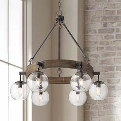 "Barrister 30"" Wide Gunmetal and Wood 6-Light Chandelier"