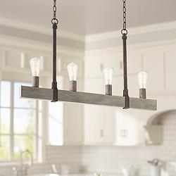 "Beau 34""W Bronze and Wood Kitchen Island Light Chandelier"