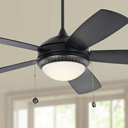 "52"" Monte Carlo Discus Ornate Matte Black LED Ceiling Fan"