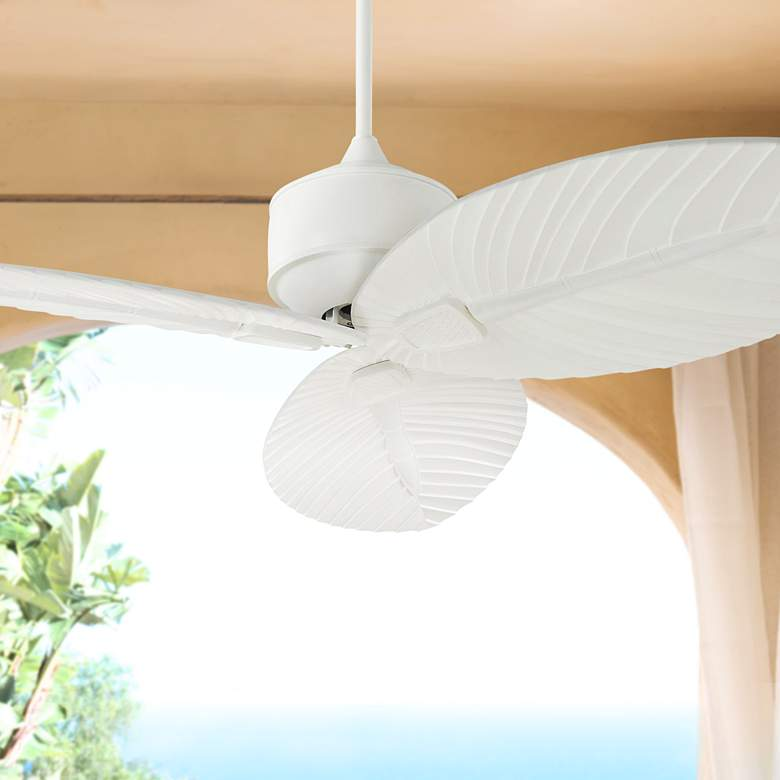 "56"" Monte Carlo Delray Matte White Outdoor Ceiling Fan"