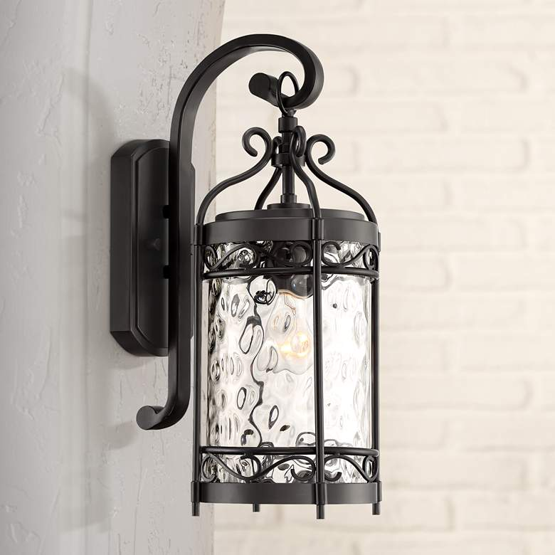 "Paseo 19""H Hammered Glass Matte Black Outdoor Wall Light"