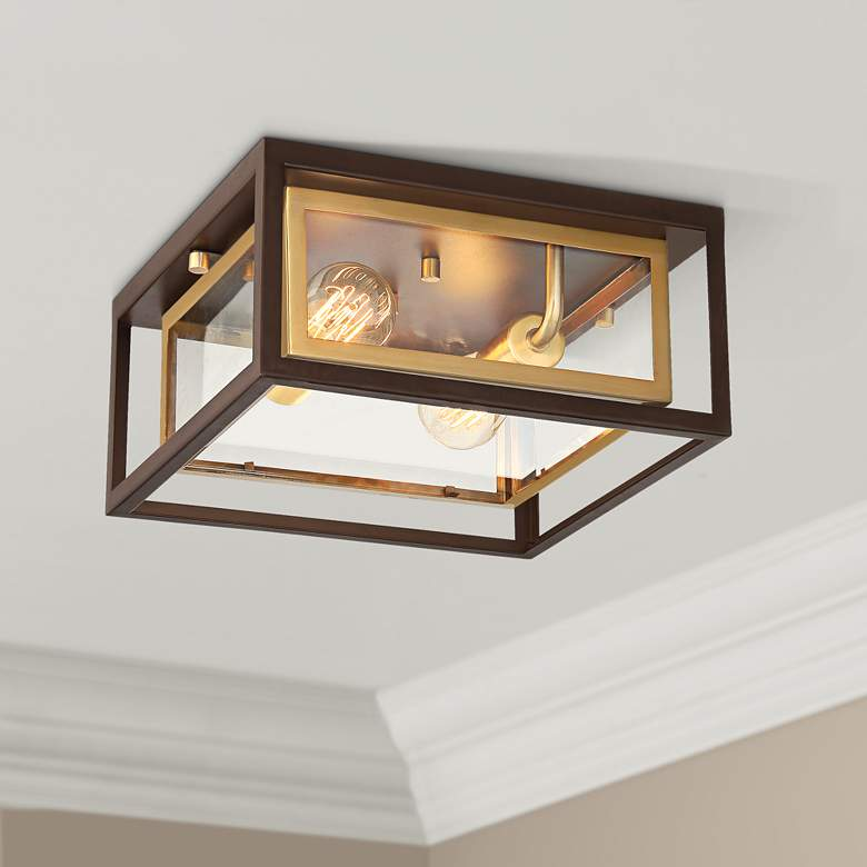 "Possini Euro Kie 12"" Wide Double Box Outdoor Ceiling Light"