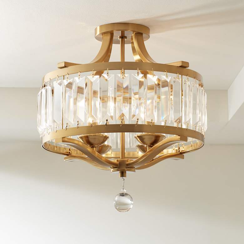 "Prava 16 1/2""W Crystal and Warm Brass Ceiling Light"