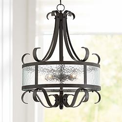 "Ebro 20 1/2""W Bronze and Glass 5-Light Pendant Chandelier"