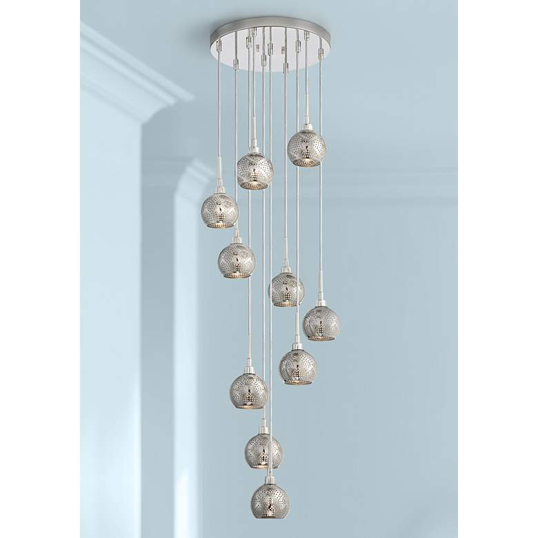 "Jango 13"" Wide Polished Nickel LED Multi Light Pendant"