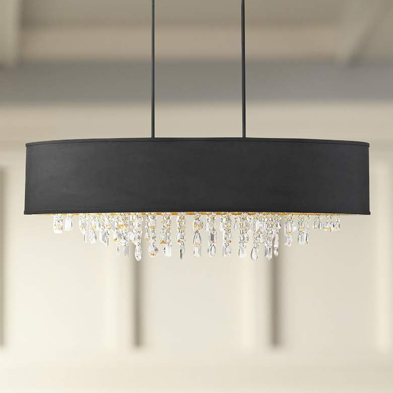 "Sparkler 44"" Wide Black Oval Kitchen Island Light Chandelier"