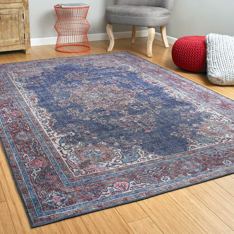 Kaleen Boho Patio BOH09-17 Blue Denim Area Rug