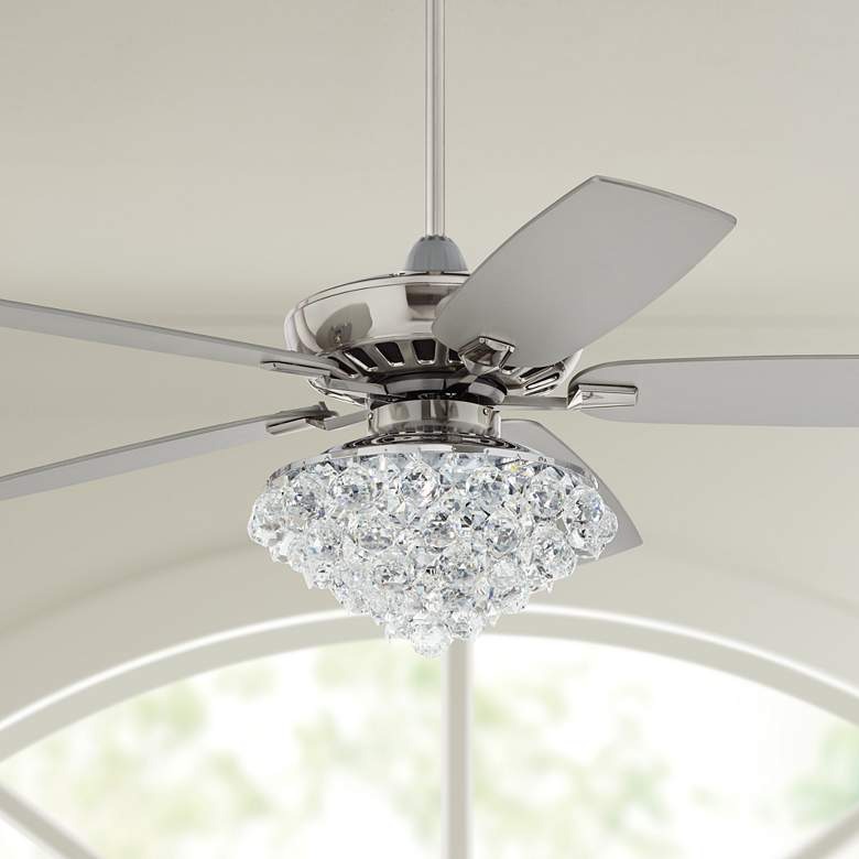 "52"" Casa Journey Brushed Nickel Crystal LED Ceiling"