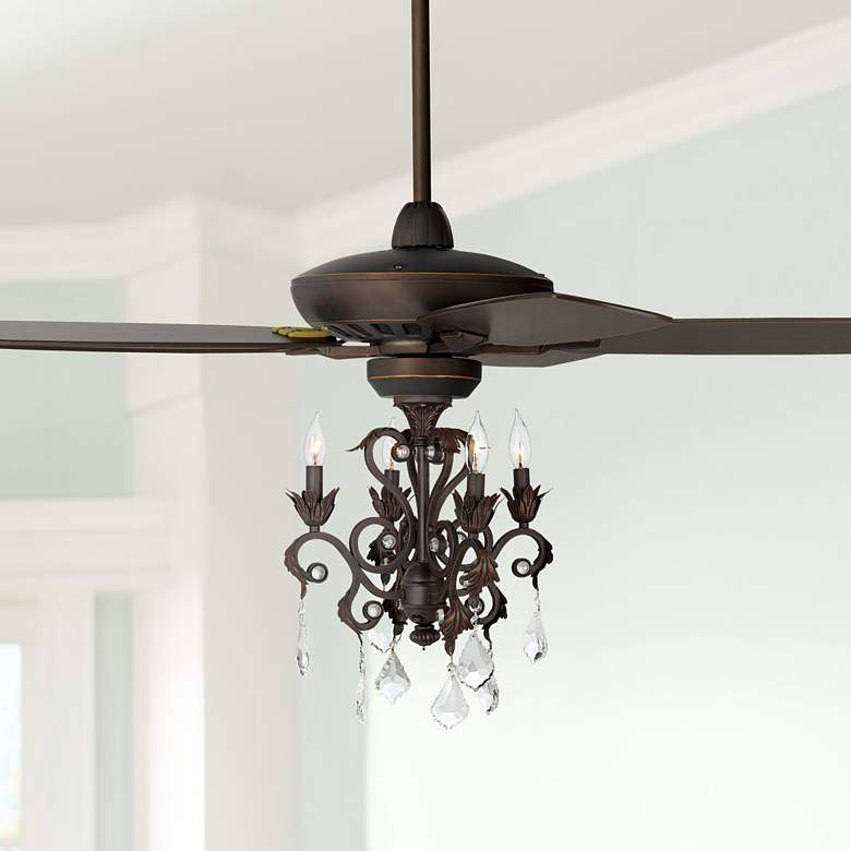 "52"" Casa Journey Oil-Rubbed Bronze Crystal LED Ceiling"