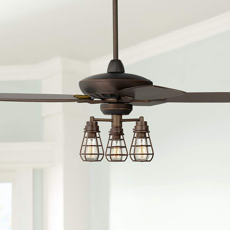 "52"" Casa Journey Oil-Rubbed Bronze Cage LED Ceiling"