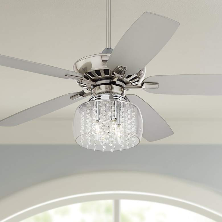 "52"" Journey Brushed Nickel Crystal Rainfall LED Ceiling Fan"