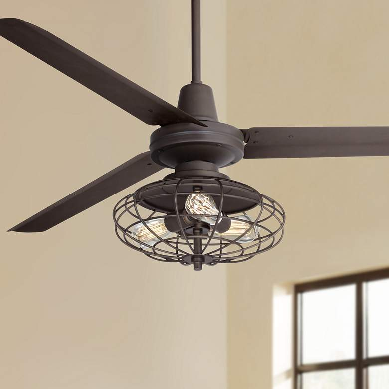 "60"" Casa Vieja Turbina AC Bronze LED Ceiling Fan"