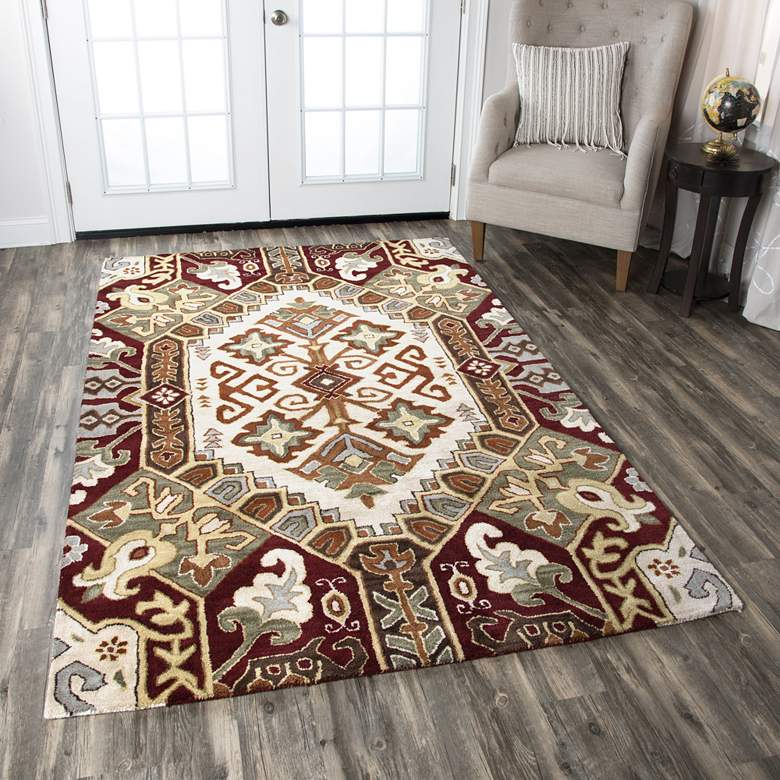 Southwest 5'x8' Neutral Tribal Wool Area Rug