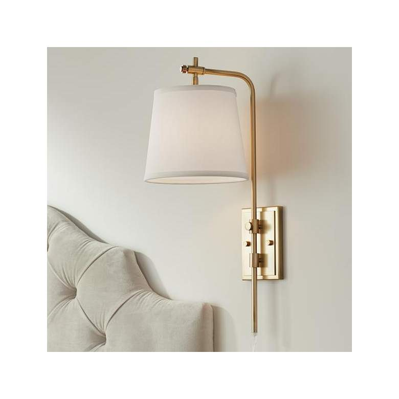 Seline Warm Gold Adjustable Plug-In Wall Lamp