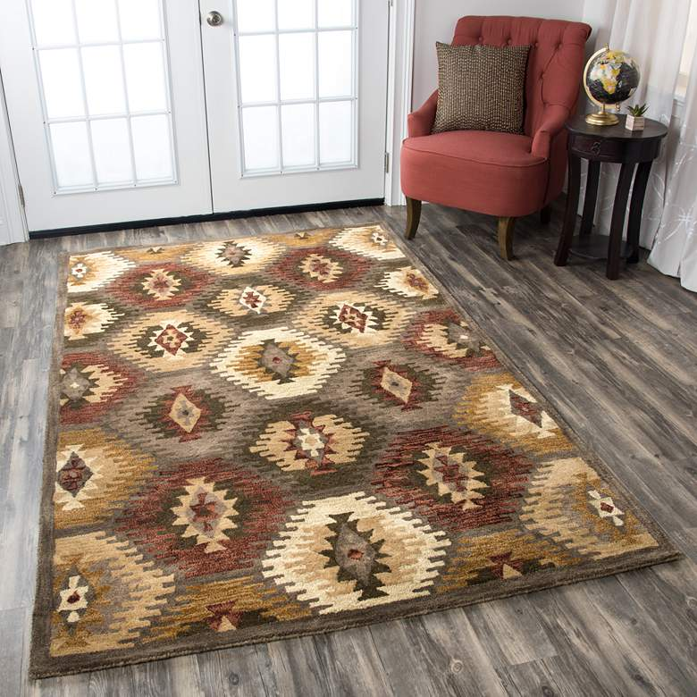 Southwest 5'x8' Multi-Color Brown Tribal Wool Area Rug