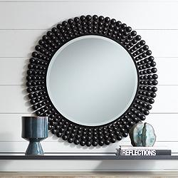 "Ellisha 34 3/4"" Round Black Wood Bead Wall Mirror"
