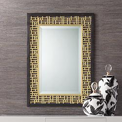 "Freja  24 3/4"" x  34 3/4"" Gold Openwork Wall Mirror"