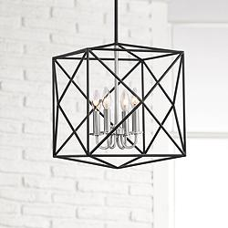 "Possini Euro Upton 16 1/2"" Wide 4-Light Black Pendant Light"