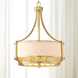 "Queensland 20 1/4"" Wide Gold Drum Pendant Light"