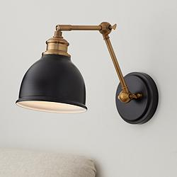 Sania Black and Antique Brass Adjustable Swing Arm Wall Lamp