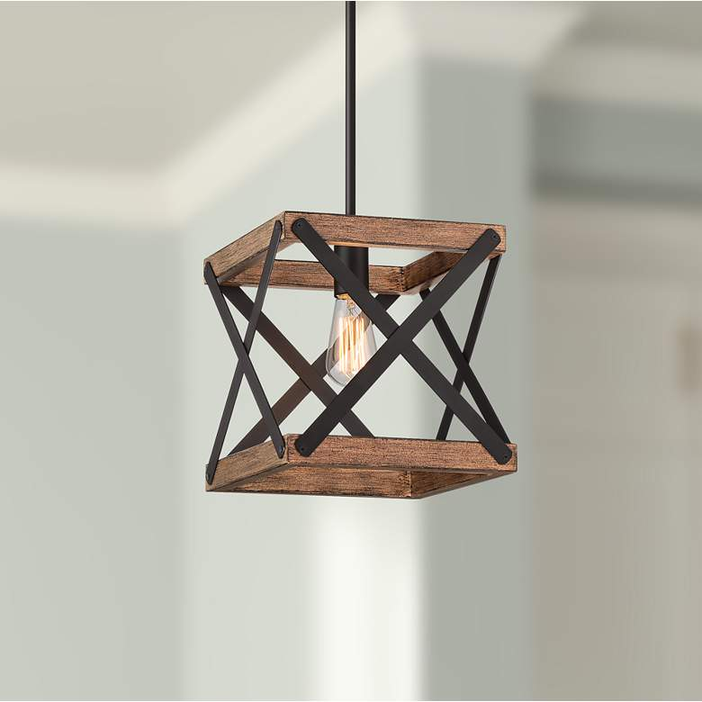 "Wade 10 1/4"" Wide Bronze and Old Wood Mini Pendant Light"