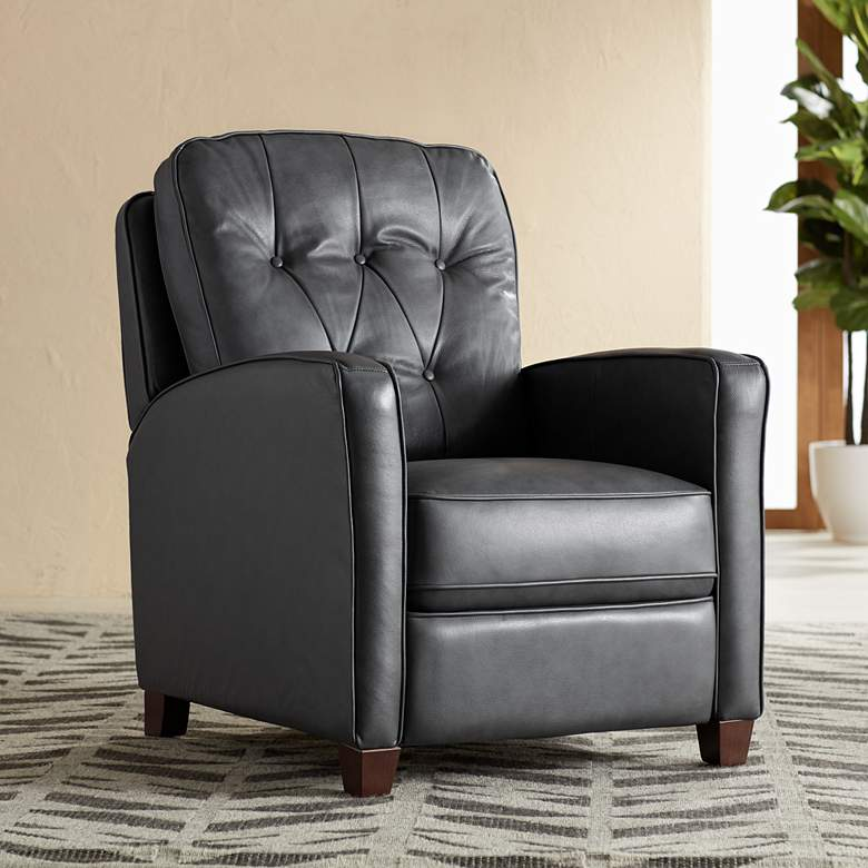Livorno Gray Leather 3-Way Recliner Chair