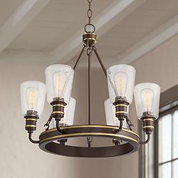 "Parkston 25 1/2"" Wide Oil-Rubbed Bronze 6-Light Chandelier"