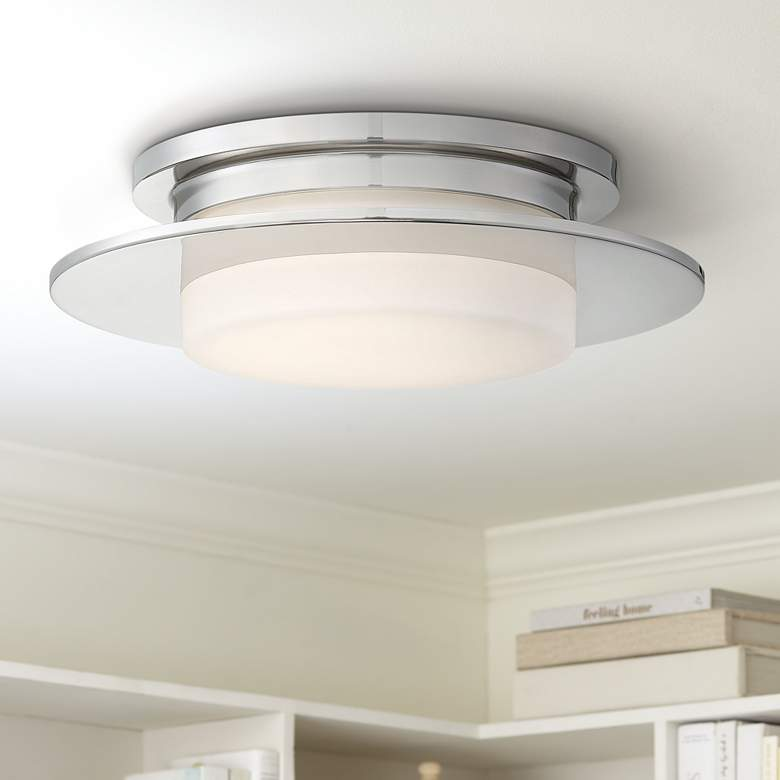 "George Kovacs Press 14""W Polished Nickel LED Ceiling"