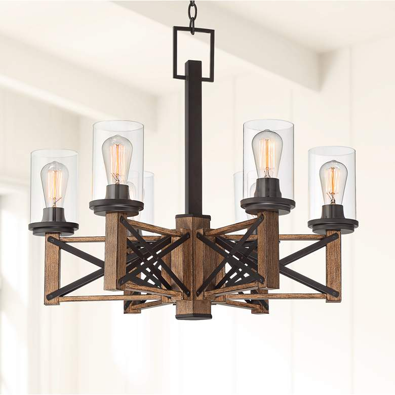 "McBride 27 1/2"" Wide Bronze and Wood 6-Light Chandelier"