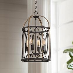 "Batton 16 1/4""W Bronze and Wood Grain 4-Light Foyer Pendant"