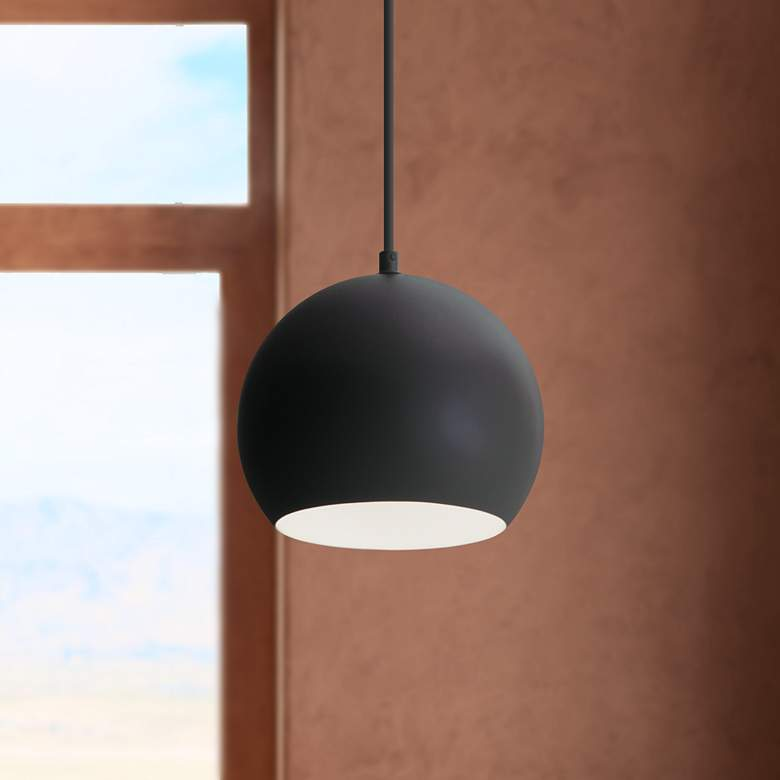 "Roxy 7 3/4"" Wide Black Metal Dome Mini Pendant Light"