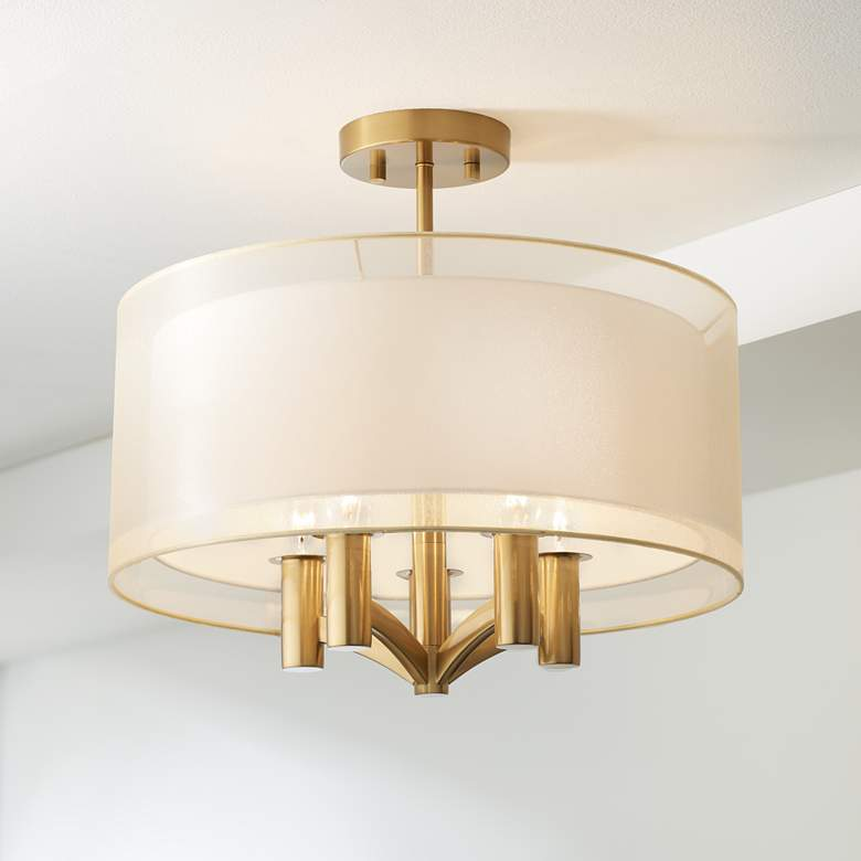 "Caliari 18"" Wide Warm Brass 5-Light Ceiling Light"