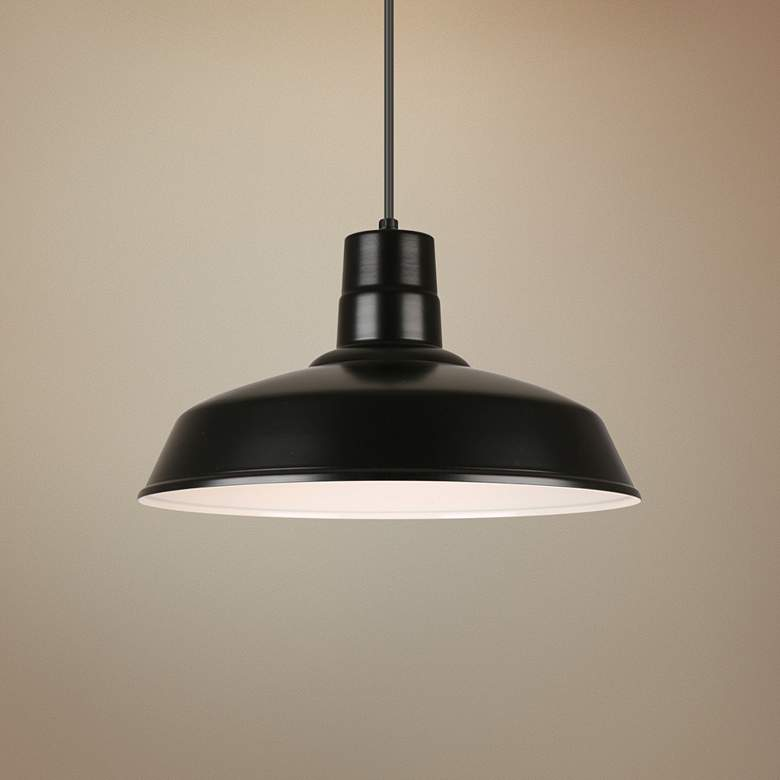 "Hi-Lite Warehouse 16"" Wide Black Metal Pendant Light"