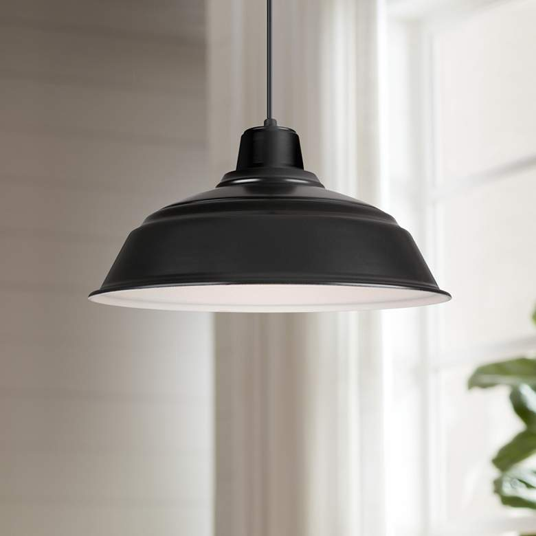 "Hi-Lite Warehouse 17"" Wide Black Metal Pendant Light"