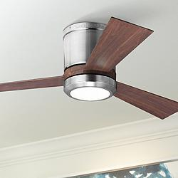"42"" Clarity II Brushed Steel LED Hugger Ceiling Fan"