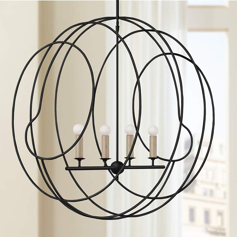 "Auden Orb 33 1/4"" Wide Antique Black 4-Light"
