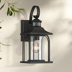"Adaes 14 1/4""H Black Motion Sensor Outdoor Wall Light"