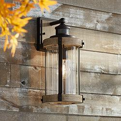 "Stan 15 1/2""H Black Wood Motion Sensor Outdoor Wall Light"