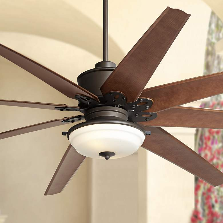 "72"" Predator Bronze Frosted Glass Outdoor LED Ceiling Fan"