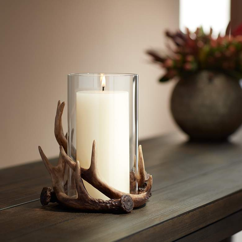 Abie Brown Antler Candle Holder with Glass Tube