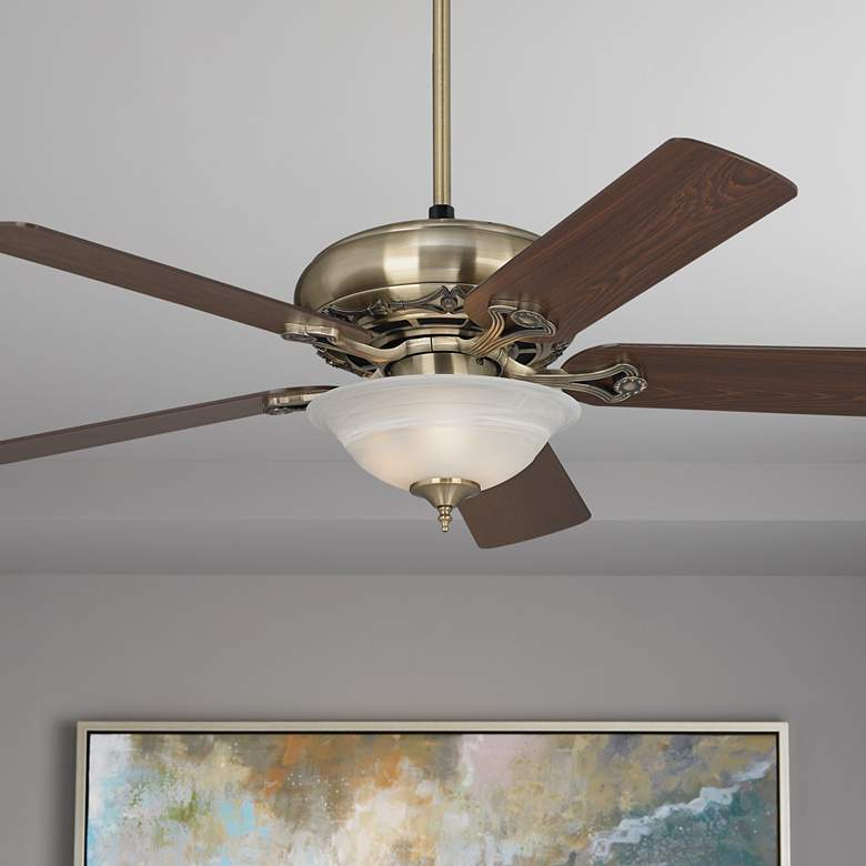 "52"" Casa Trilogy Brass and Alabaster Glass LED Ceiling Fan"