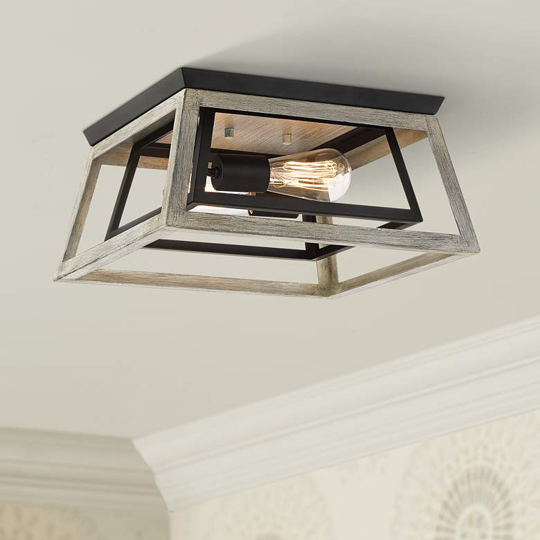 "Possini Euro Carrabelle 14""W Wood and Black Ceiling Light"