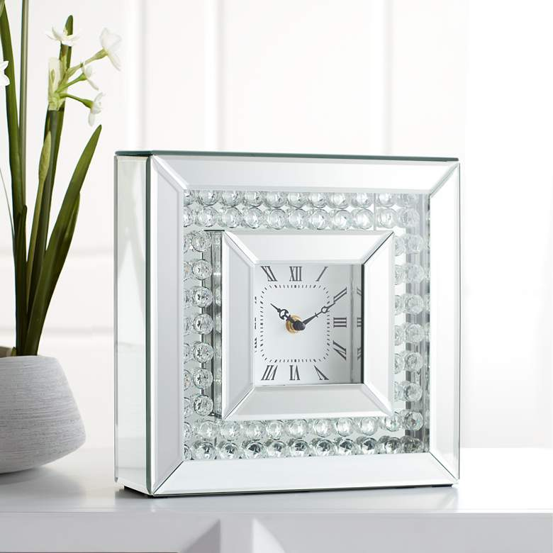 "Eden 10"" Square Glossy Silver and Crystal Table Clock"