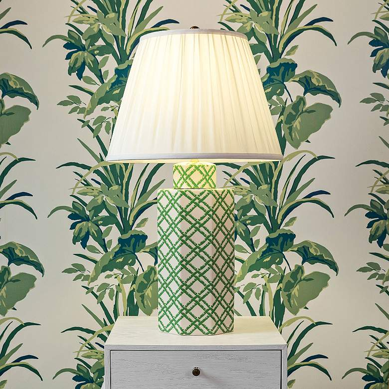 Port 68 Bamboo Trellis Green and White Column Table Lamp