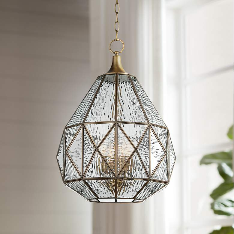 "Fenmore 15 3/4""W Antique Brass Geometric Glass Pendant"