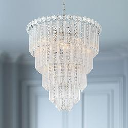 "Valentina 19 1/2"" Wide Chrome and Crystal 10-Light Chandelier"