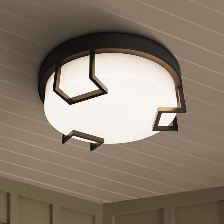 "Beaumont 12"" Wide Textured Bronze LED Outdoor Ceiling"