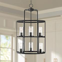 "Ansel 19"" Wide Bronze 2-Tier 6-Light Foyer Pendant Light"
