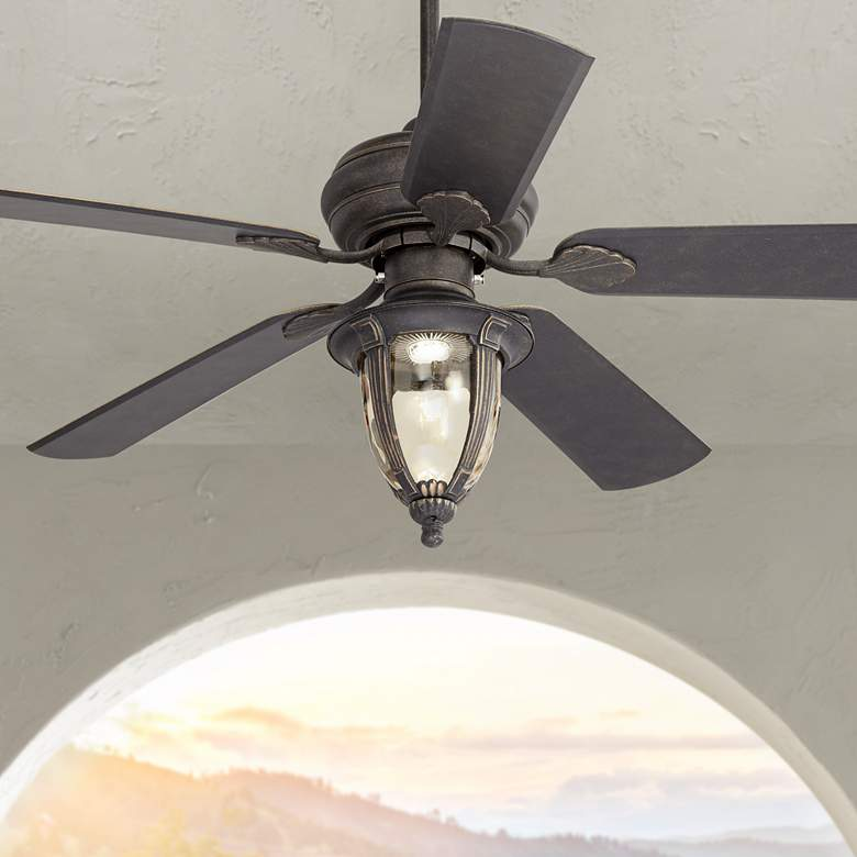 "52"" Casa Vieja Veranda Bronze Amber Glass LED Ceiling Fan"