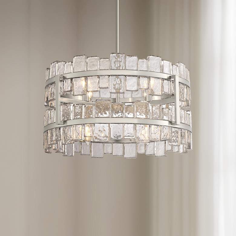 "Possini Euro Cassandra 26""W 8-Light Glass Drum Pendant"